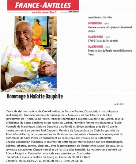 France Antilles-Hommage à Maiotte Dauphite le 8 mai 2015