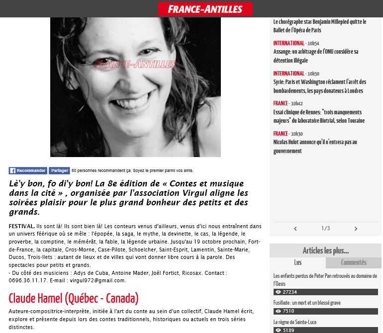 Journal France Antilles le 9 octobre 2015