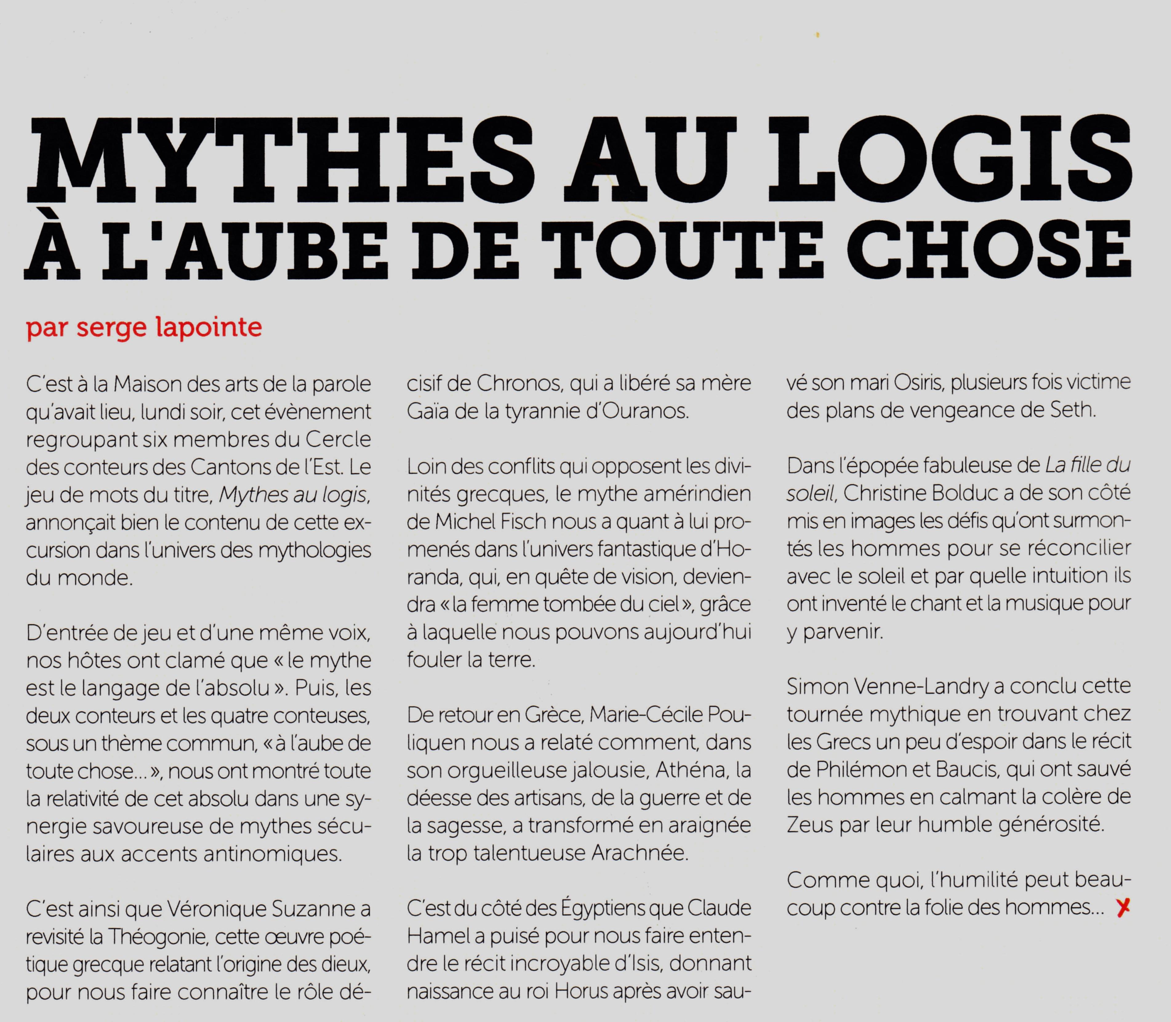 Porte Voix 2013 Mythes au logis-Isis